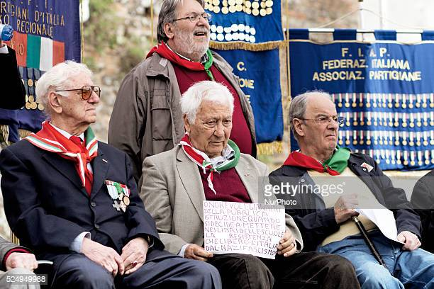 Italian partisans attend a rally to celebrate the liberation day in Rome in front of the ancient Pyramid of Cestius on April 25 2015 Italy is...