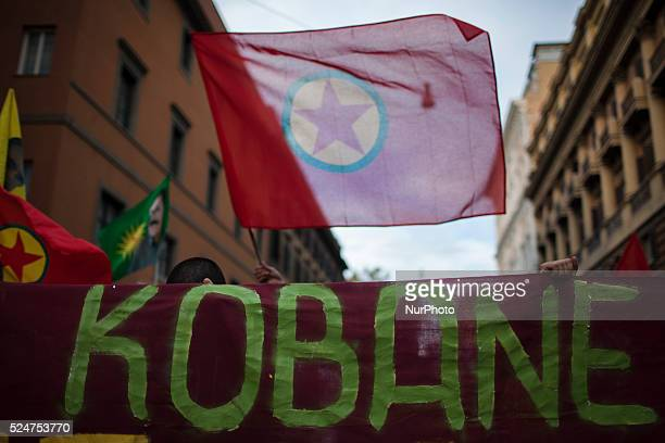 Kurdish supporters wave the national flag during a demonstration in Rome on October 31 2015Several hundreds of demonstrators took part in a rally in...