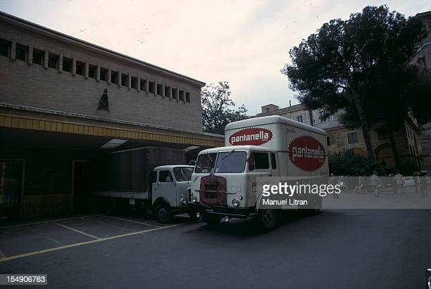 Italy Rome May 1969 illustration of the Vatican A truck of the company Pantanella pasta maker parking for delivery