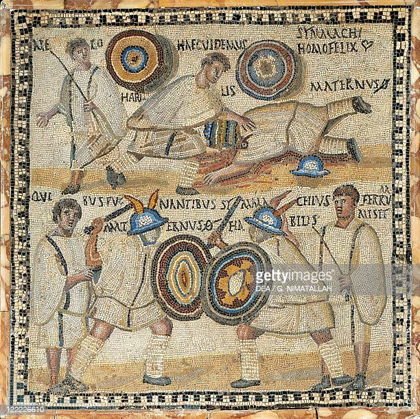 Italy Rome Mosaic work depicting gladiators and fightings