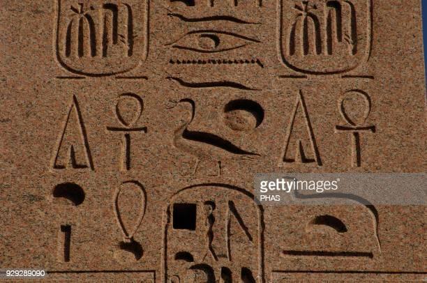 Italy, Rome. Piazza del Popolo. Flaminio Obelisk, Egyptian obelisk of Ramesses II from Heliopolis. Detail. Hieroglyphic writing.