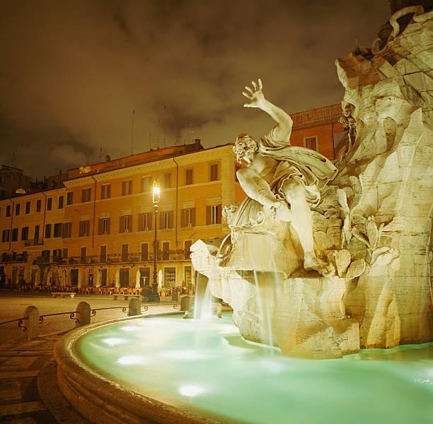 Italy, Rome, Piazza Navona at night