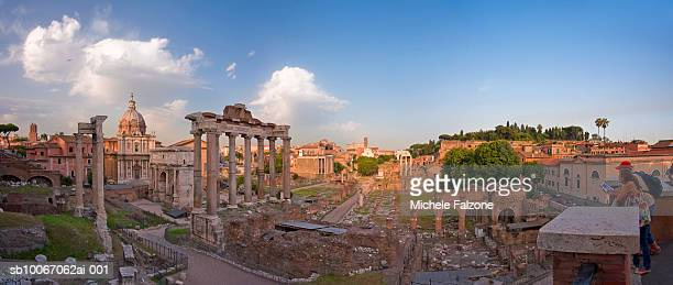 Italy, Rome, Roman Forum and Temple of Saturn ruins