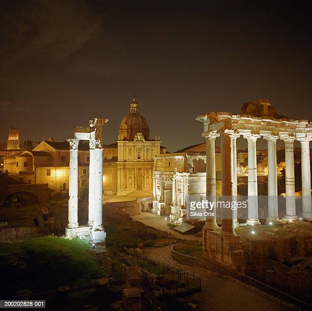 italy, rome, roman forum at night - arch of septimus severus stock pictures, royalty-free photos & images