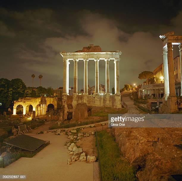 Italy, Rome, Roman Forum at night