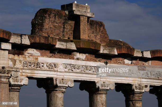 Italy Rome Roman Forum Temple of Saturn Built in 497 BC Front porch Detail