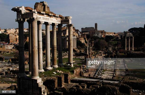 Italy Rome Roman Forum Temple of Saturn Built in 497 BC Front porch