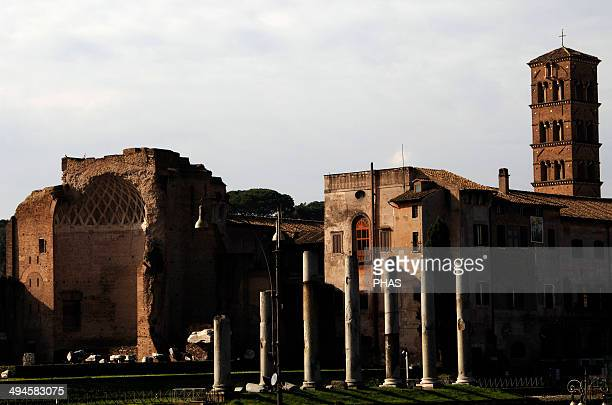 Italy Rome Roman Forum Temple of Venus and Roma begun in 121 by Emperor Hadrian and finished in the 141 by Antoninus Pius