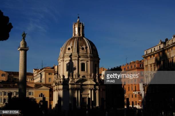 Italy Rome Saint Maria di Loreto Church designed by Antonio da Sangallo the younger and Trajan's Column Forum of Trajan