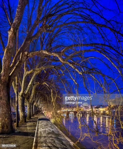 italy, rome, st. peter's basilica and ponte sant'angelo in the evening - patrimonio de la humanidad por la unesco stock pictures, royalty-free photos & images