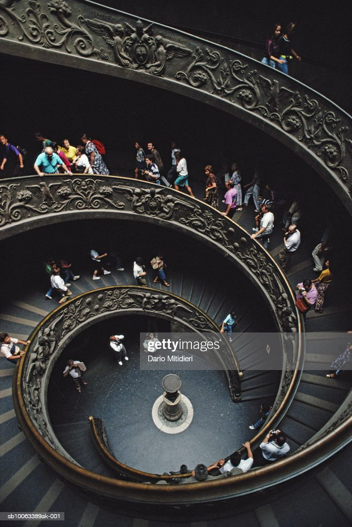Italy, Rome, staircase at Vatican Museum, elevated view