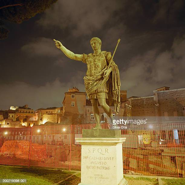 Italy, Rome, statue of Augustus at night