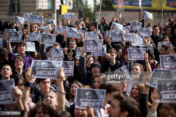 Students shout slogans during a protest for the right to study in Rome Italy on February 22 2019 Thousands of students took to the streets in Italy...