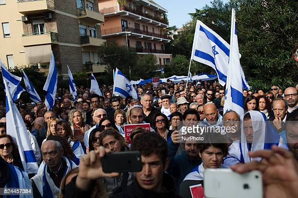 Supporters of Israel take part in a rally in front of Israeli embassy in Rome on October 18 2015About one hundreds of people took part in a rally to...