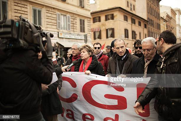Susanna Camusso General Secretary of the CGIL labour union federationparticipate in a demonstration to support new hardleft Greek Prime Minister...