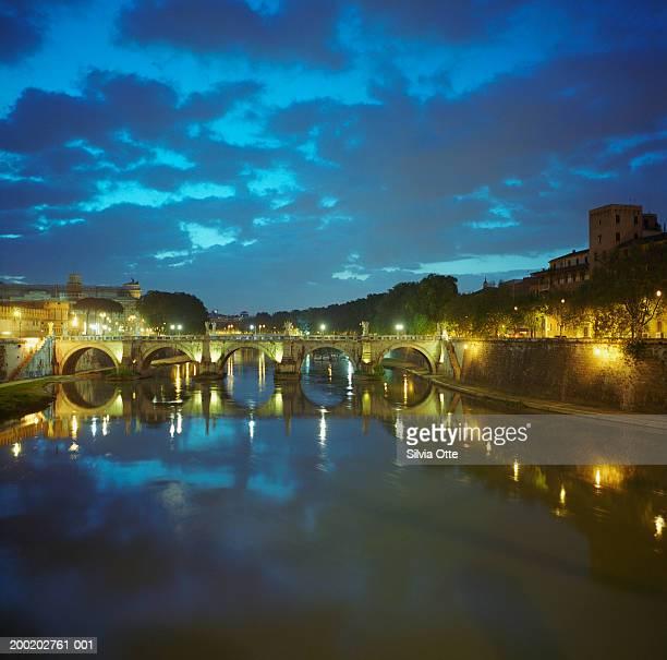 Italy, Rome, Tever river at night