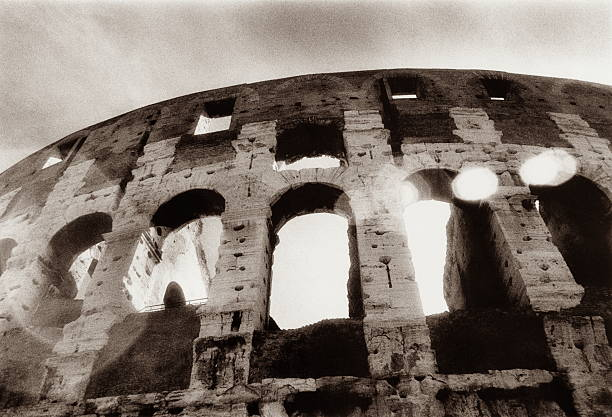 Italy, Rome, the Colosseum, low angle view (toned B&W)