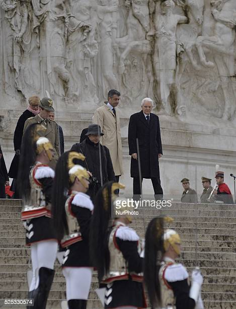 "The most important political leaders of Italy take part of the celebration for the 154th anniversary of Italian unification on ""Altare della..."