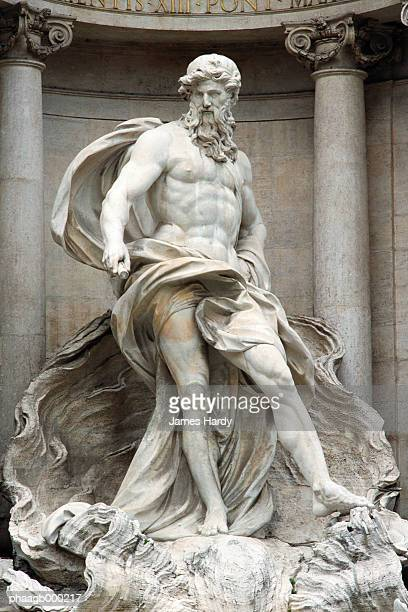 italy, rome, trevi fountain, statue of neptune - 彫刻作品 ストックフォトと画像