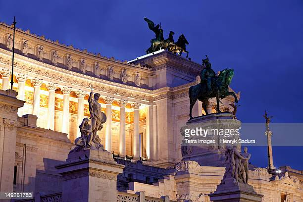 Italy, Rome, Victor Emmanuel II monument at dusk