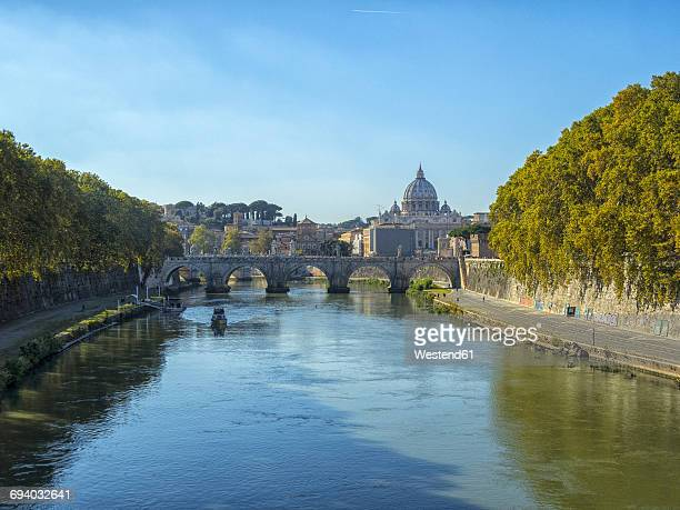 Italy, Rome, view to St. Peters Basilica and Ponte SantAngelo
