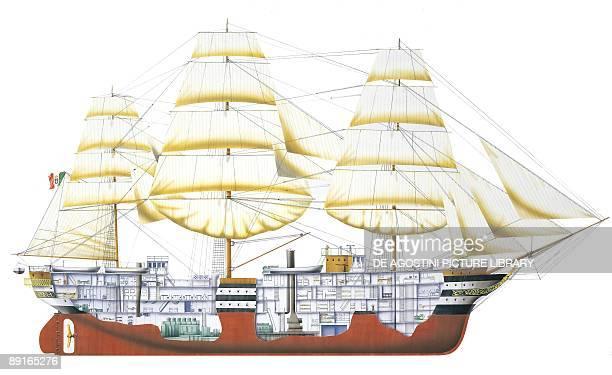 Italy Royal Navy Amerigo Vespucci tall ship crosssection illustration