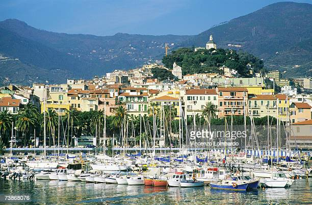 italy, sanremo, yachts in marina - san remo italy stock pictures, royalty-free photos & images