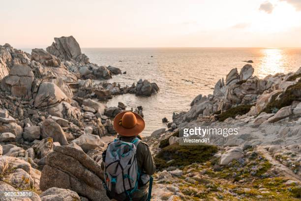 italy, sardinia, back view of hiker with backpack looking to the sea - sardinia stock pictures, royalty-free photos & images