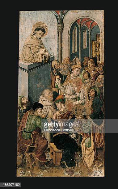 Italy Sardinia Cagliari National Gallery Whole artwork view St Francis wearing the typical habit is preaching to the crowd from the pulpit