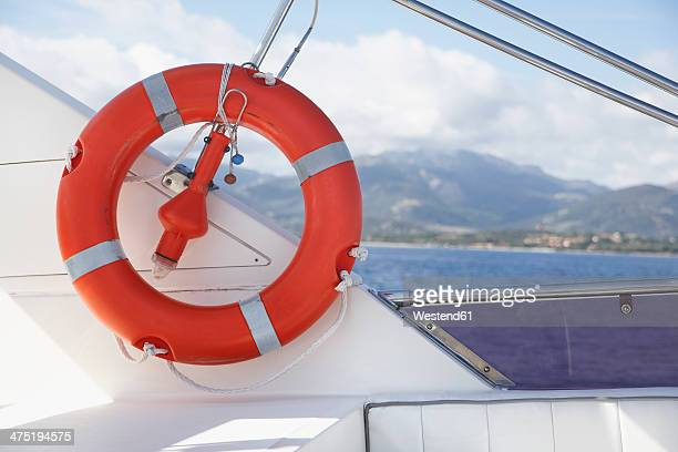 Italy, Sardinia, Lifesaver on yacht, close up