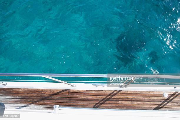 Italy, Sardinia, Planks of yacht deck