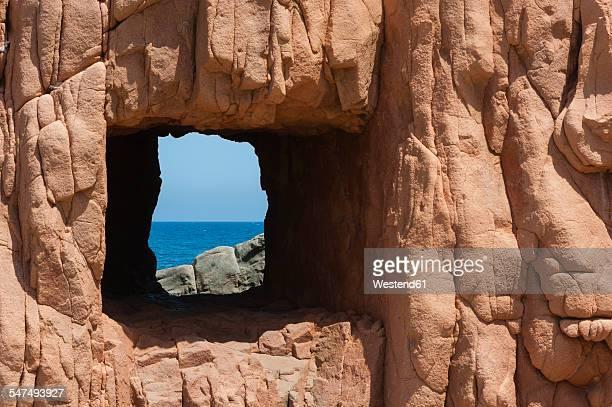 Italy, Sardinia, Tortoli, red rocks of Arbatax, cliffs of red Porphyry