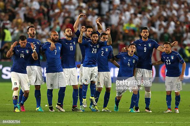 Italy show their frustration during the penalty shoot out following the UEFA Euro 2016 Quarter Final match between Germany and Italy at Nouveau Stade...