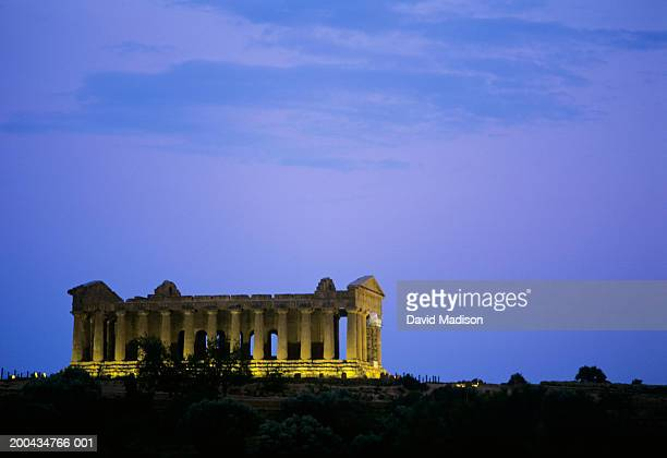 Italy, Sicily, Agrigento, Temple of Concord at dusk