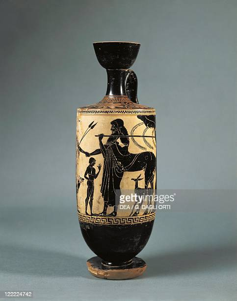 Italy Sicily Blackfigure lekythos depicting Achilles and Chiron the Centaur by the Athena Painter School