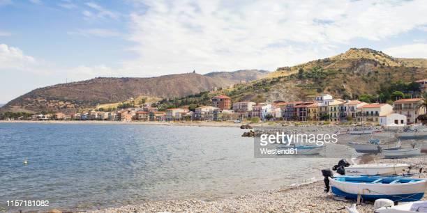 italy, sicily, castel di tusa, beach and harbor - メッシーナ ストックフォトと画像