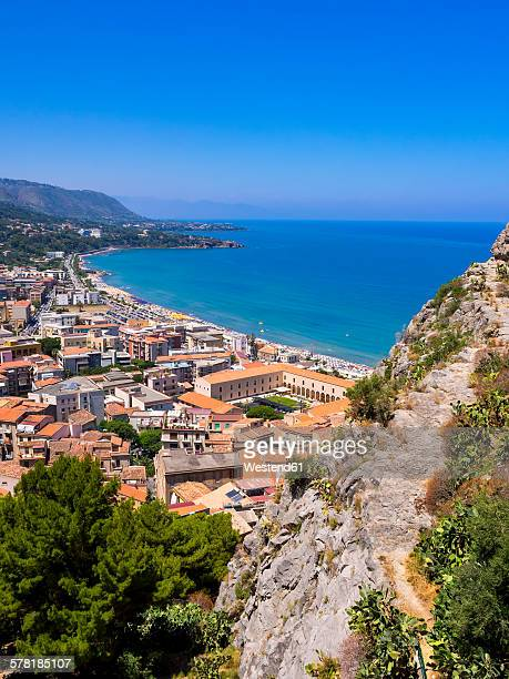 Italy, Sicily, Cefalu, View to old town of Cefalu from Rocca di Cefalu