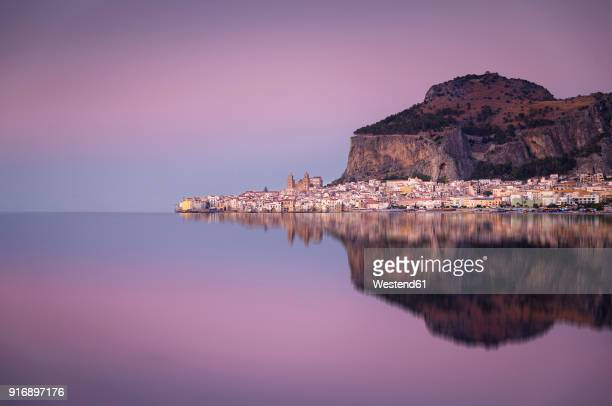 Italy, Sicily, Cefalu with reflections in the evening, afterglow