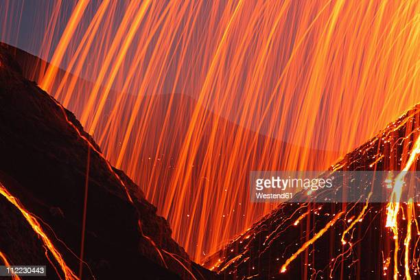 Italy, Sicily, Close up of Stromboli volcano erupting