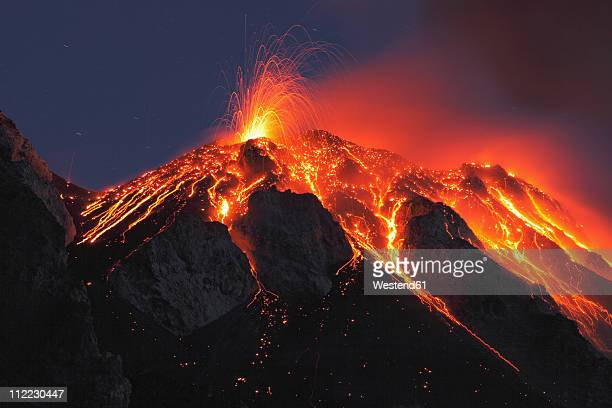 italy, sicily, lava flow from stromboli volcano - lava stock pictures, royalty-free photos & images