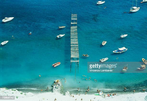 Italy, Sicily, Lipari, Boats at beach, aerial view