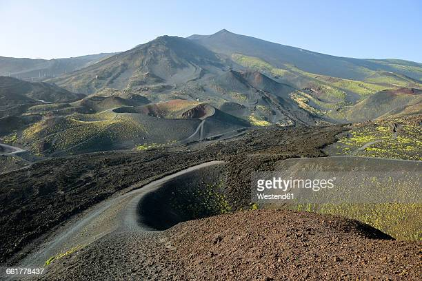 Italy, Sicily, Mount Etna, volcanic crater, lava fields