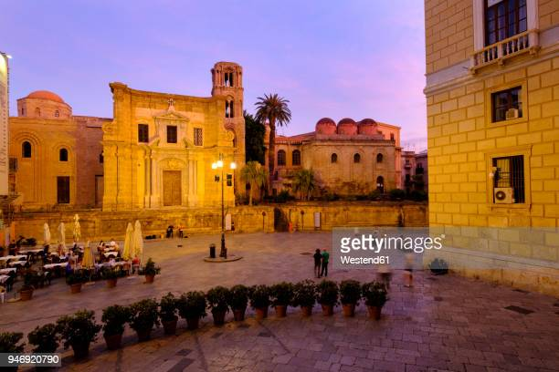 italy, sicily, palermo, iazza bellini, san cataldo in the evening - province of caltanissetta stock photos and pictures