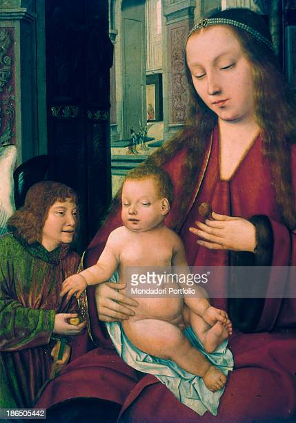 Italy Sicily Palermo Sicilian Regional Gallery Abatellis Palace Detail The Virgin with baby Jesus in her arms wth an angel at her right side