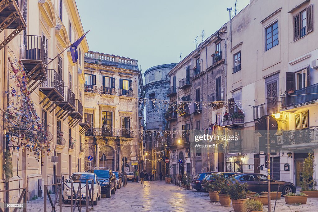 Italy, Sicily, Palermo, Street view in evening light : Stock Photo