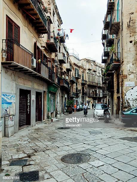 Italy, Sicily, Palermo, Via del Ponticello, Old houses
