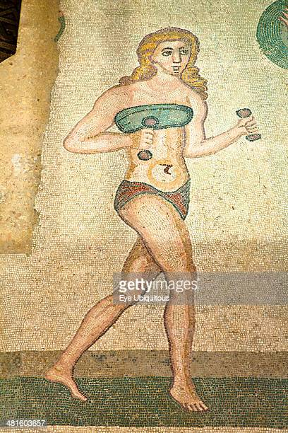 Italy Sicily Piazza Armerina Villa Romana del Casale Mosaic of female gymnasts in bikinis Hall of Female Gymnasts