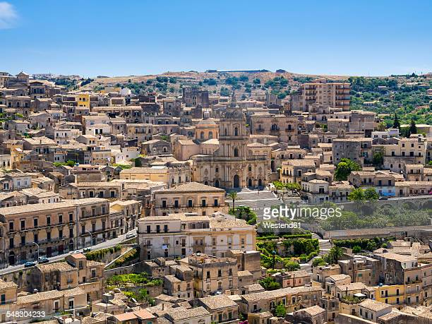 Italy, Sicily, Province of Ragusa, View to Modica with Church San Giorgio