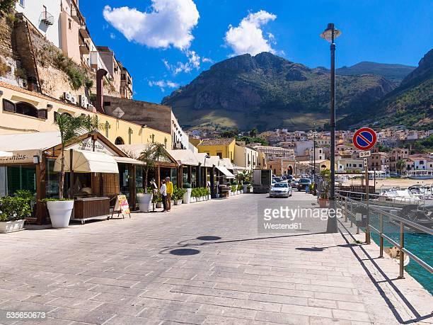 Italy, Sicily, Province of Trapani, Fishing village Castellammare del Golfo, Promenade and restaurants