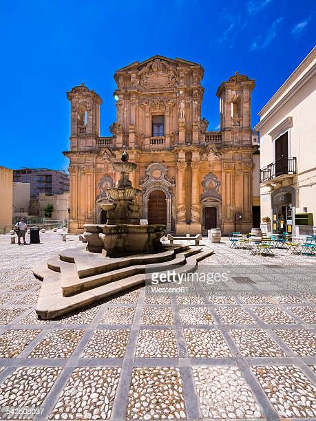 italy, sicily, province of trapani, marsala, church la chiesa del purgatorio - marsala sicily stock pictures, royalty-free photos & images